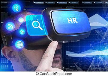 voit, réseau, fonctionnement, inscription:, concept., jeune, virtuel, business, hr, internet, homme affaires, technologie, réalité, lunettes