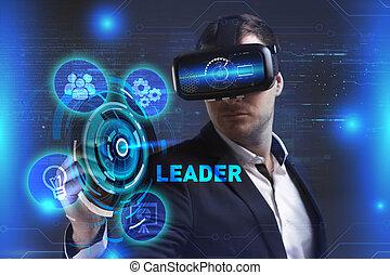 voit, réseau, fonctionnement, inscription:, concept., jeune, virtuel, business, internet, homme affaires, technologie, réalité, éditorial, lunettes