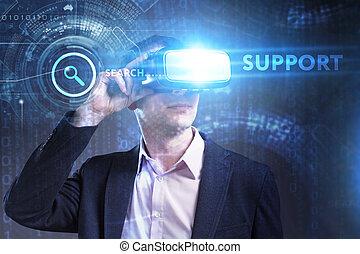 voit, réseau, fonctionnement, inscription:, concept., jeune, virtuel, business, internet, homme affaires, technologie, réalité, soutien, lunettes