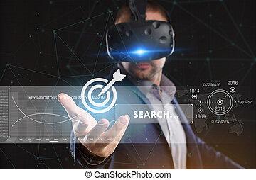 voit, réseau, fonctionnement, inscription:, concept., jeune, virtuel, business, internet, homme affaires, technologie, réalité, lunettes