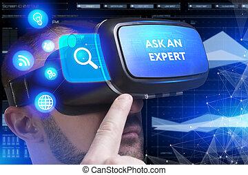 voit, réseau, fonctionnement, inscription:, concept., lunettes, jeune, virtuel, business, internet, demander, homme affaires, technologie, réalité, expert