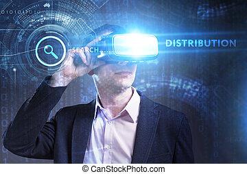 voit, réseau, fonctionnement, technologie, inscription:, concept., jeune, virtuel, business, internet, homme affaires, distribution, réalité, lunettes