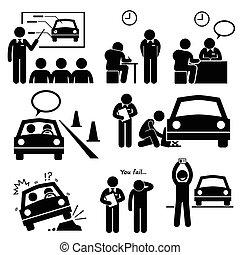 voiture, école, licence, conduite