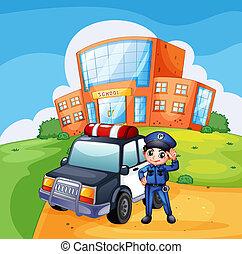 voiture, école, patrouille, policier