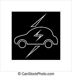 voiture, électrique, icône