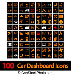 voiture, 100, tableau bord, icons.