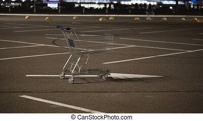 voiture, achats, stands, charrette, stationnement