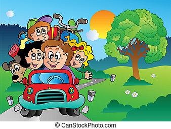 voiture, aller, vacances, famille