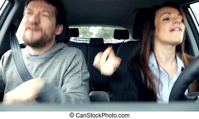 voiture, amour, danse, couple