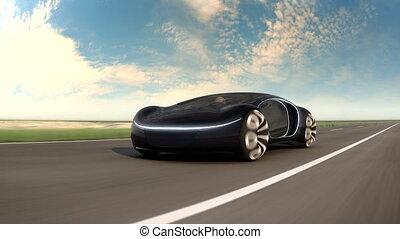 voiture., animation., électrique, desert., concept, voiture, avenir, autoroute, noir, 4k, sablonneux