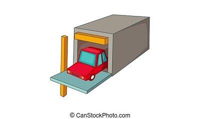 voiture, animation, garage, icône