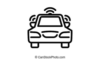 voiture, animation, icône, sans fil