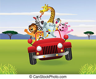 voiture, animaux, rouges, africaine