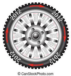 voiture., année, calendrier, 2012, roue