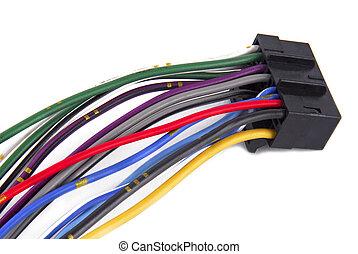 voiture, audio, câblage, système, câble