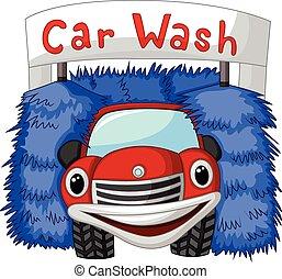 voiture, automatique, dessin animé, laver