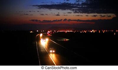 voiture, autoroute, conduite, nuit