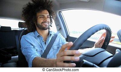 voiture, beau, conduite, homme