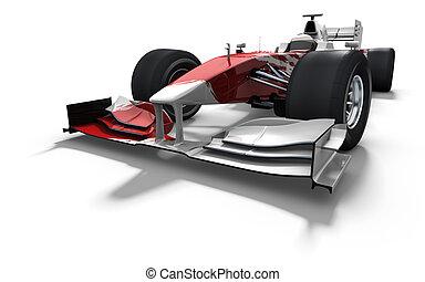 voiture, blanc, course, -, rouges