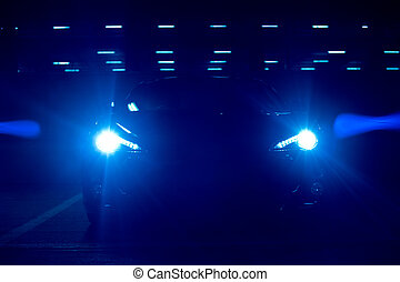 voiture bleue, clair, phares, nuit
