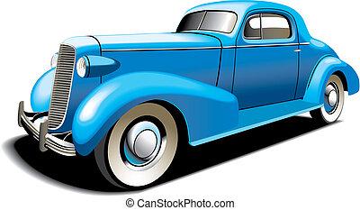 voiture bleue, vieux