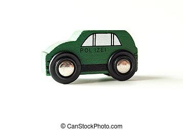 voiture bois, jouet, vert