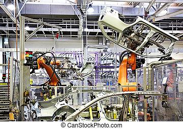 voiture, bras, usine, robotique