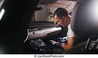 voiture, brosse, polissage, homme, automatique, panneau