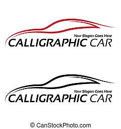 voiture, calligraphic, logos
