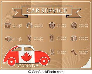 voiture, canada, illustration, vecteur, drapeau, fait, service