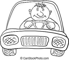 voiture, chauffeur, contours