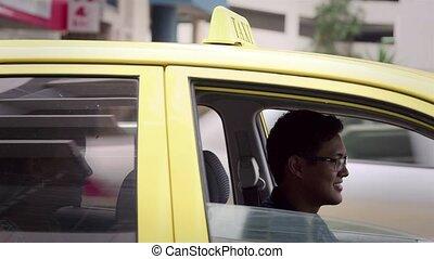 voiture, chauffeur, heureux, taxi, conduite