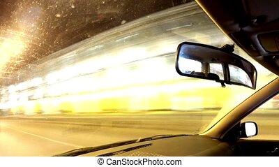 voiture, city., conduite, nuit