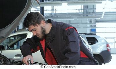 voiture, clé, mécanicien, sous, torsions, service, capuchon