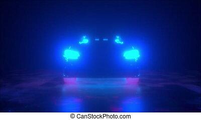 voiture, clair, phares, néon