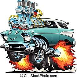voiture classique, tige, illustration, chaud, vecteur, années cinquante, muscle, dessin animé