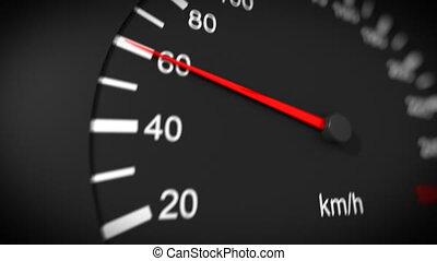 voiture, compteur vitesse, hd