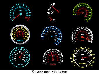 voiture, compteurs vitesse
