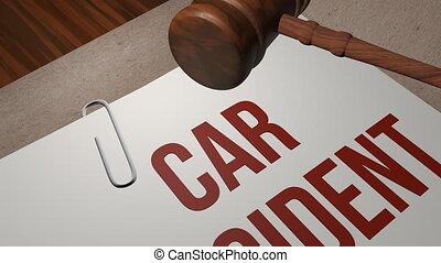 voiture, concept, procès, légal, accident