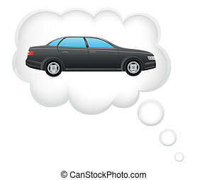 voiture, concept, rêve, nuage