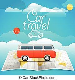 voiture, concept., voyage vacances