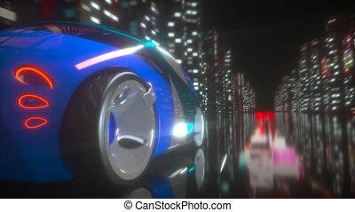 voiture, conception, animation, -, 3d