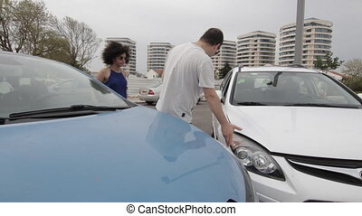 voiture, conducteurs, accident, argument, entre