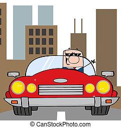 voiture, conduite, homme affaires, cabriolet
