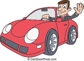 voiture, conduite, homme affaires