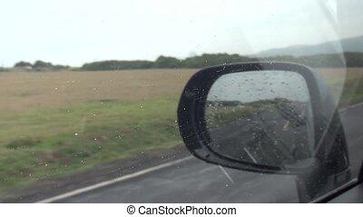 voiture, conduite, pluie