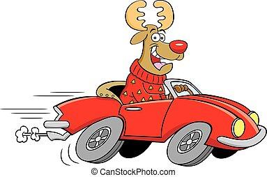 voiture., conduite, sports, dessin animé, renne, cabriolet