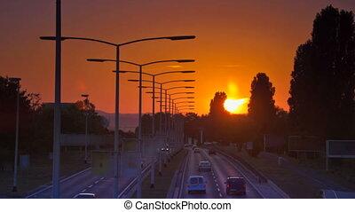 voiture, coucher soleil, autoroute, conduite