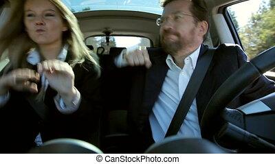 voiture, couple, business, danse
