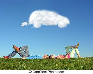 voiture, couple, rêve, nuage